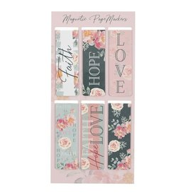 Christian Art Gifts Magnetic Pagemarker Set Faith Hope Love (Set Of 6)