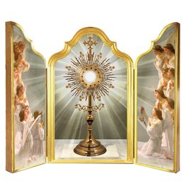 Nelsons Fine Art and Gifts Monstrance with Angels Adoring Triptych Plaque