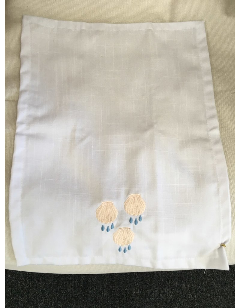 Baptism Towel with Three Embroidered Shells