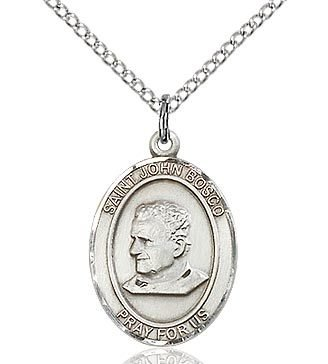 """Bliss Manufacturing Sterling Silver St. John Bosco Medal With 20"""" Chain Necklace"""