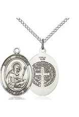 Bliss Manufacturing Sterling Silver St. Benedict Pendant on a 20 inch Sterling Silver Light Curb Chain
