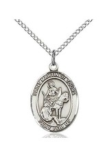 """Bliss Manufacturing Sterling Silver St. Martin of Tours Medal With 20"""" Chain Necklace Reformed Alcoholics"""