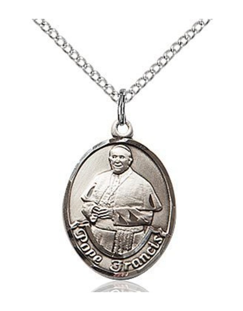 Bliss Manufacturing Sterling Silver Pope Francis Medal-Pendant With 18 inch Chain Necklace