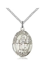 "Bliss Manufacturing Sterling Silver St. Isidore the Farmer Medal With 18"" Chain Necklace"