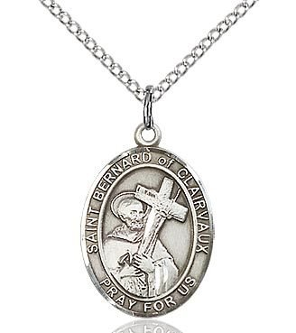 """Bliss Manufacturing Sterling Silver St. Bernard of Clairvaux Medal 18"""" Chain"""
