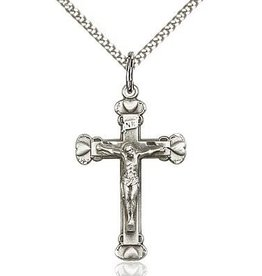 "Bliss Manufacturing Sterling Silver Crucifix Pendant With 18""  Chain Necklace"