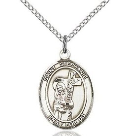 """Bliss Manufacturing Sterling Silver St. Stephanie Medal-Pendant With 18"""" Chain Necklace"""