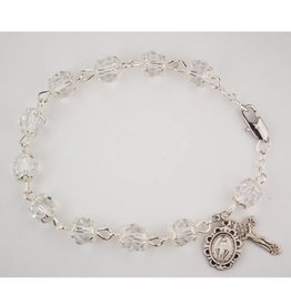 "McVan 7 1/2"" Capped Crystal Rosary Bracelet"