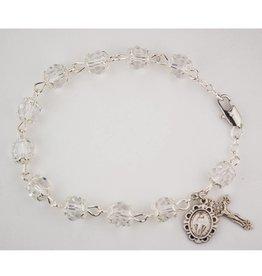 "McVan 7 1/2"" Capped Crystal Rosary Bracelet"