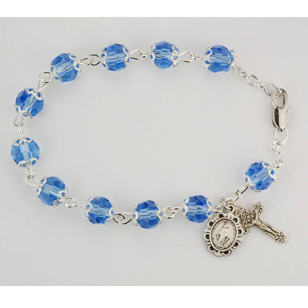 "McVan 7 1/2"" Capped Blue Crystal Bead Bracelet"