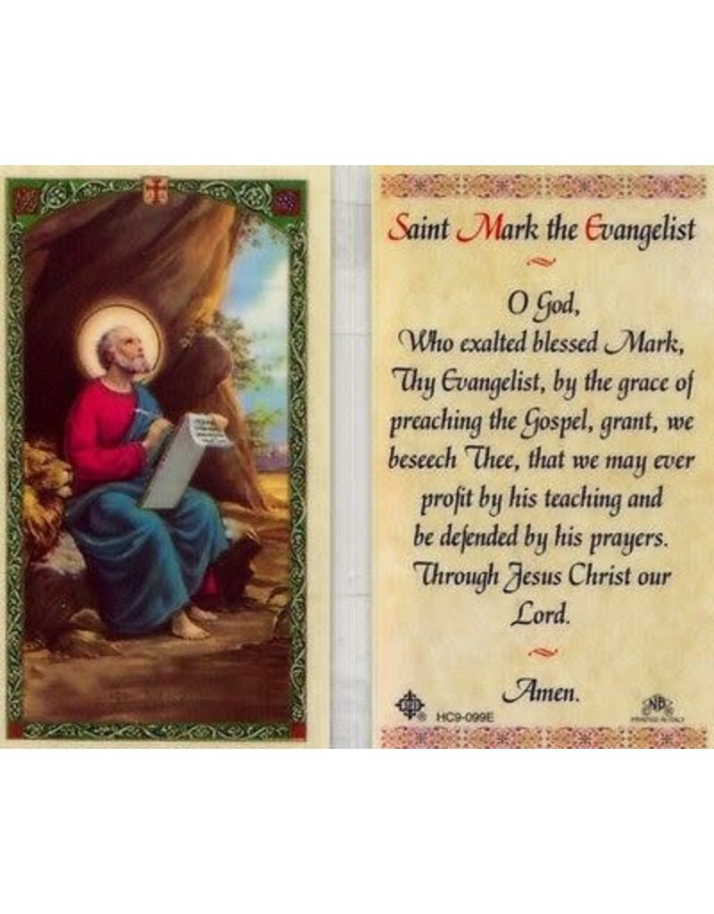Laminated Holy Card Saint Mark the Evangelist