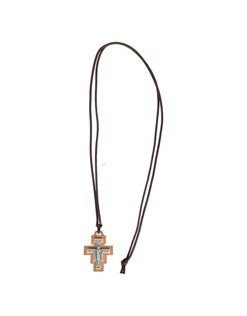 Sine Cera 1.25″ Wood San Damiano Cross Necklace