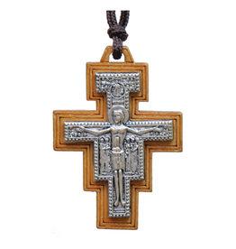 Sine Cera 1.75″ Wood San Damiano Cross Necklace