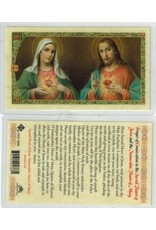 Laminated Holy Card Prayer to the Sacred Heart of Jesus and the Immaculate Heart of Mary