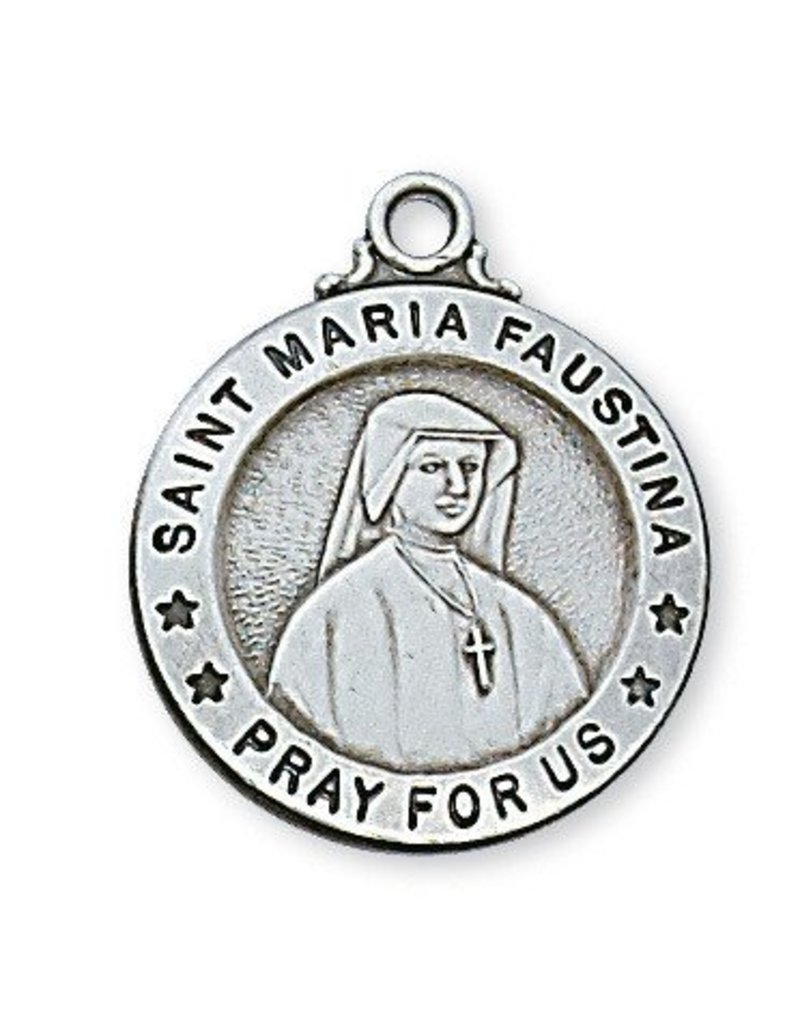 """McVan Sterling Silver St. Maria Faustina Medal-Pendant With 20"""" Chain Necklace"""