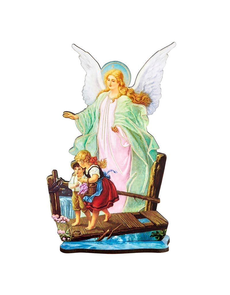 Berkander Lasered Wood Statues With Wood Stand - Guardian Angel