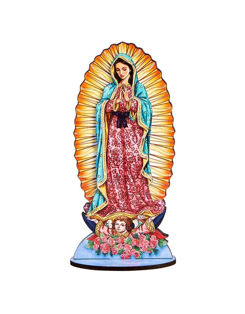 Berkander Lasered Wood Statues With Wood Stand - Our Lady Of Guadalupe