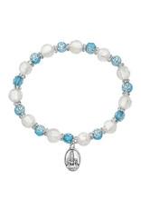 McVan Aqua Rose and Silver Fatima Bracelet
