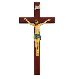 "McVan 13"" Cherry Beveled Crucifix with Painted Corpus"