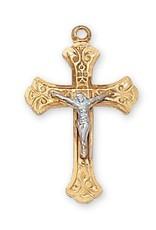 "Gl/ss Two Tone Crucifix 18"" Chain"