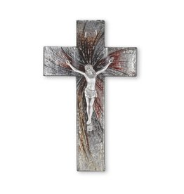 """WJ Hirten 10"""" Black and Silver Glass Shimmering Crucifix with Pewter Corpus"""