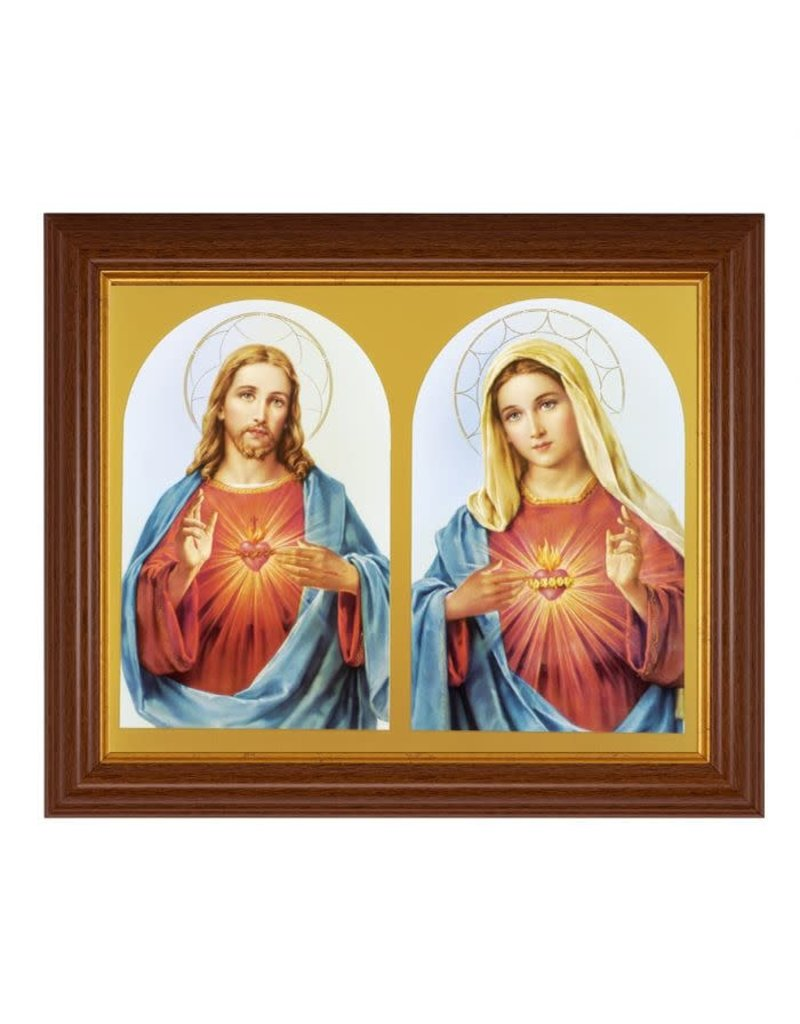"""WJ Hirten 8""""x10"""" Sacred and Immaculate Hearts in Dark Walnut Gold Lined Frame"""