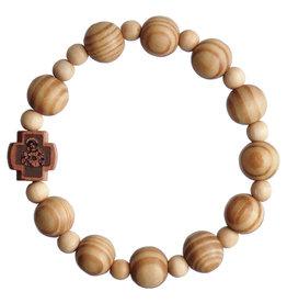 Sine Cera 10mm Children's Pine Wood Stretch Rosary Bracelet