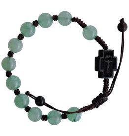 Sine Cera 8mm Adjustable Green Jade and Jujube Wood Rosary Bracelet