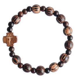 Sine Cera 8mm Children's Striped Wood Stretch Rosary Bracelet
