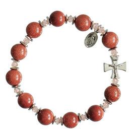 Sine Cera 10mm Genuine Goldstone Rosary Bracelet