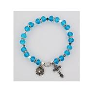McVan Aqua Rosary Stretch Bracelet