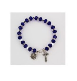 McVan Dark Blue Stretch Rosary Bracelet With Miraculous Medal and Crucifix