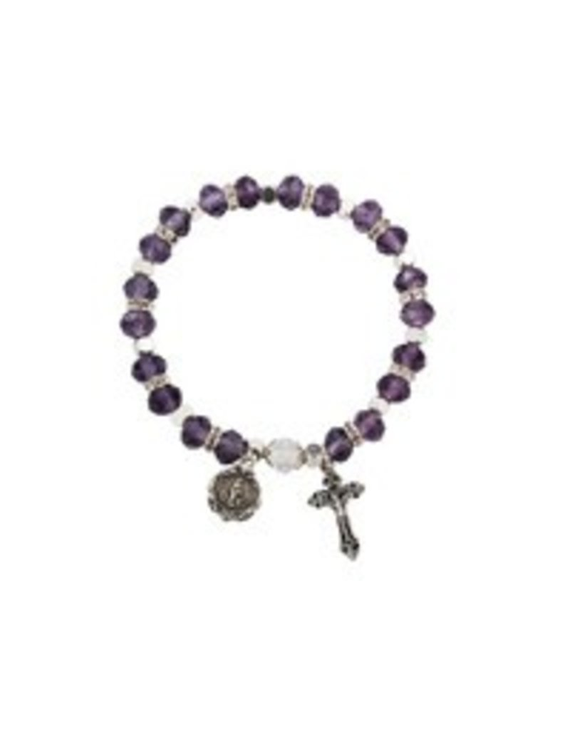 McVan Amethyst Rosary Stretch Bracelet