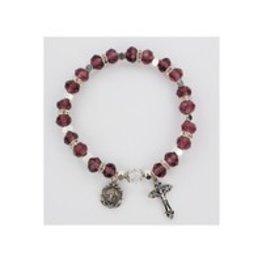McVan Dark Amethyst Rosary Stretch Bracelet