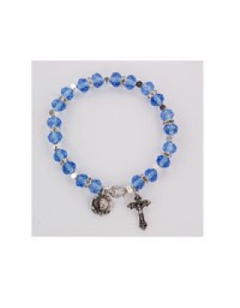 McVan Blue Rosary Stretch Bracelet