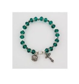 McVan Emerald Rosary Stretch Bracelet With Miraculous Medal and Crucifix