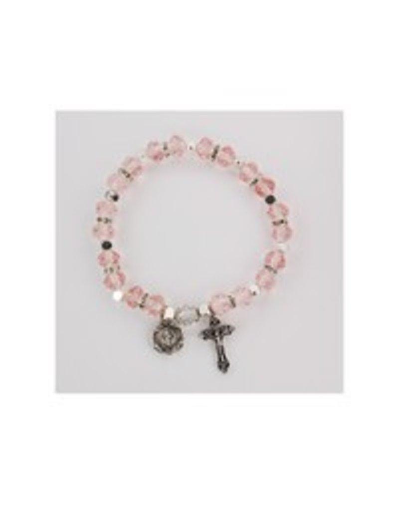 McVan Rose Pink Rosary Stretch Bracelet