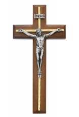 """McVan 10"""" Beveled Walnut Crucifix with Brass Accents and Silver Corpus"""