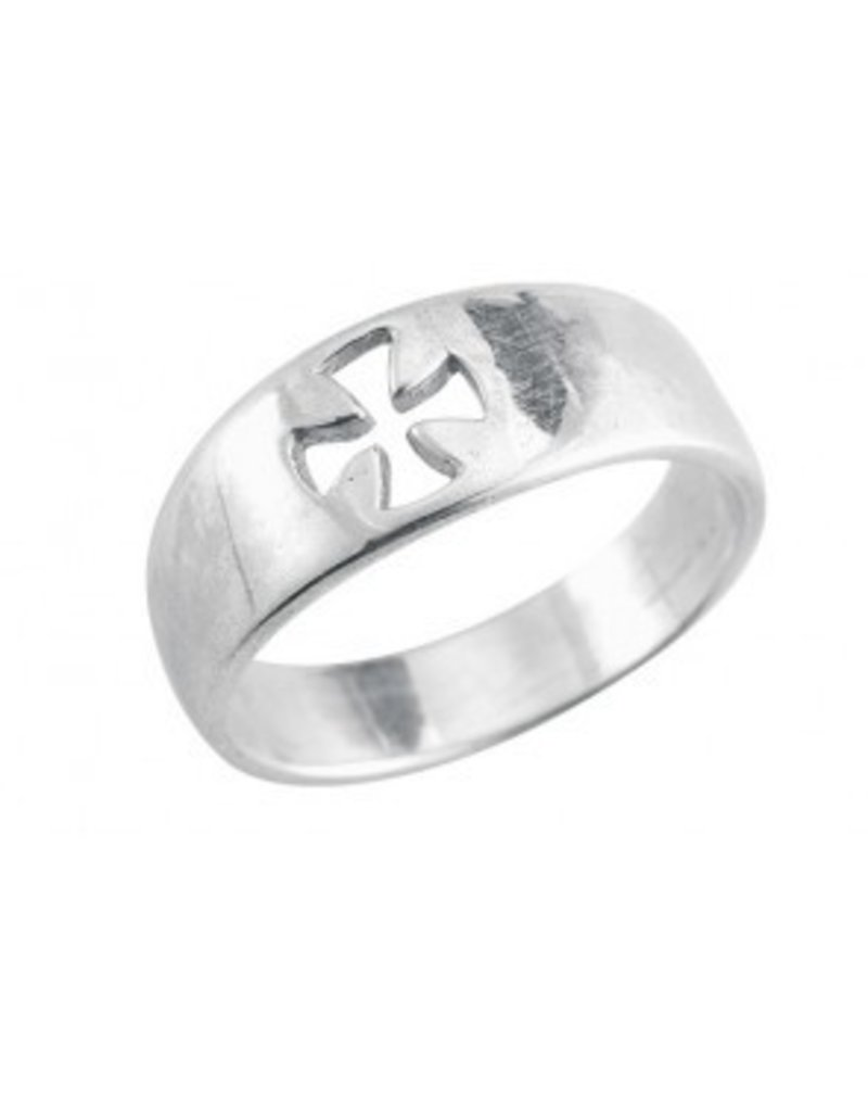 HMH Religious Sterling Silver Cross Cut Out Ring Size 8