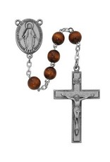 McVan 7MM Sterling Silver  Brown Wood Rosary with Box