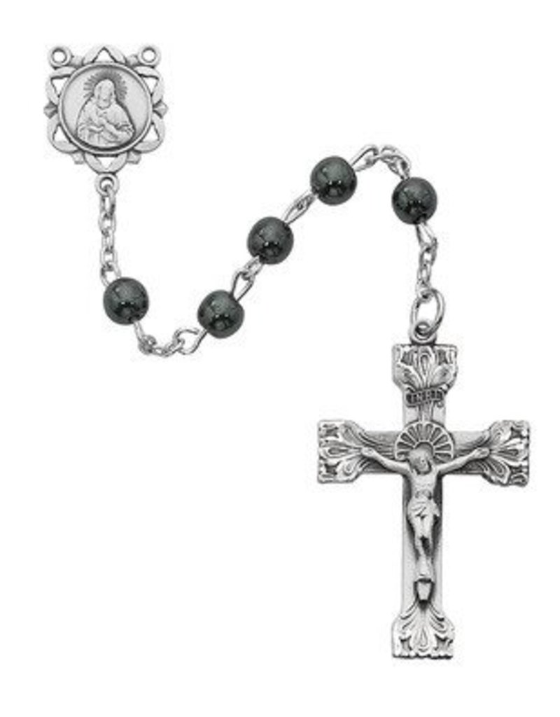 McVan Sterling Silver Hematite Rosary Boxed