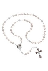 McVan 7mm Pink Pearl Glass Rosary with Enamled Rhodium Crucifix and Center
