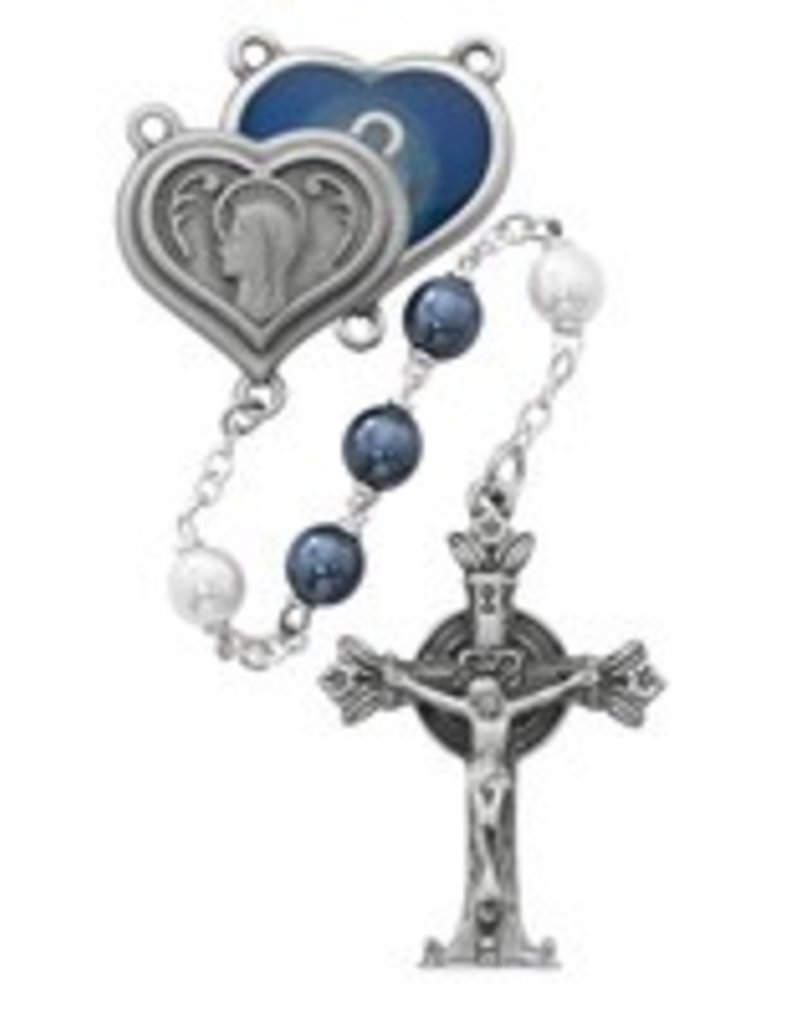 McVan 7mm Blue and Pearl Rosary with Lourdes Water Center