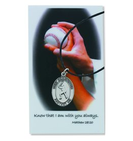 McVan Boys Baseball Pewter Pendant with Prayer Card