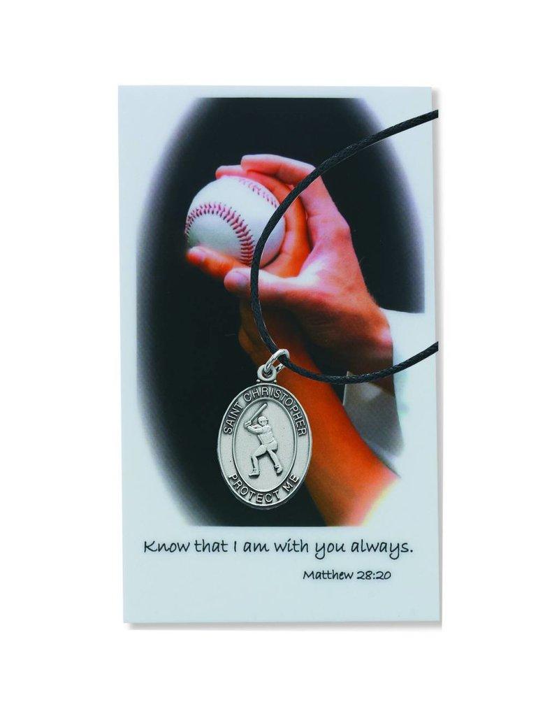 McVan Boys Baseball Pewter Pendant with Prayer Card