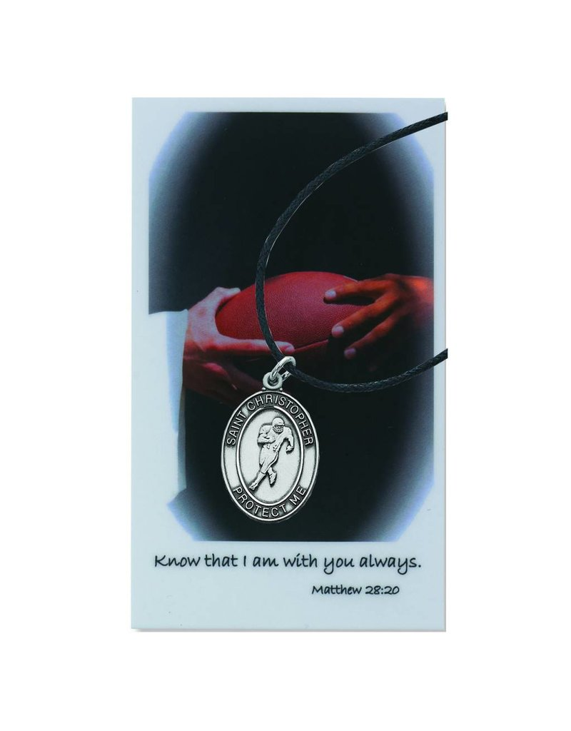 McVan St. Christopher Boys Football Prayer Card Set with Medal