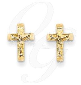 14K Crucifix Post Earrings