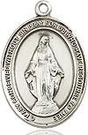 "Bliss Manufacturing Sterling Silver Miraculous Medal Pendant With 18"" Chain Necklace"