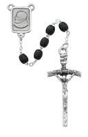 BLK Wood Papal Rosary Boxed