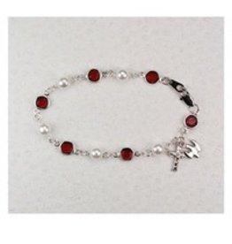"McVan 7.5"" Red Bead and Pearl Holy Spirit Bracelet"